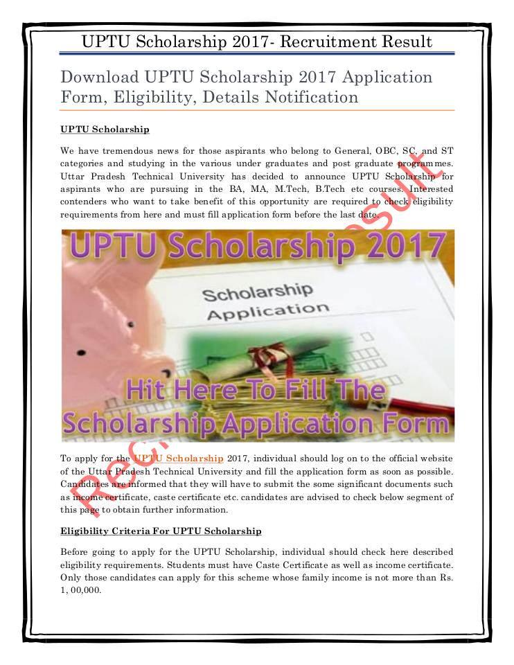 Download UPTU Scholarship 2017 Application Form, Eligibility