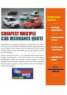 Multi Car Insurance Quotes >> Cheapest Multi Car Insurance Quotes Edocr