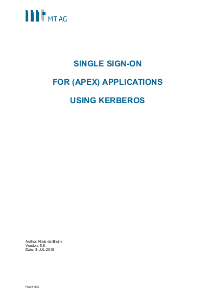 Single Sign-On for Oracle Application Express (APEX