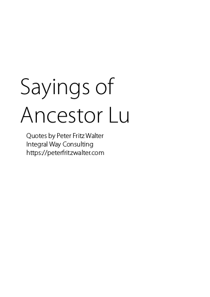 Sayings of Ancestor Lu