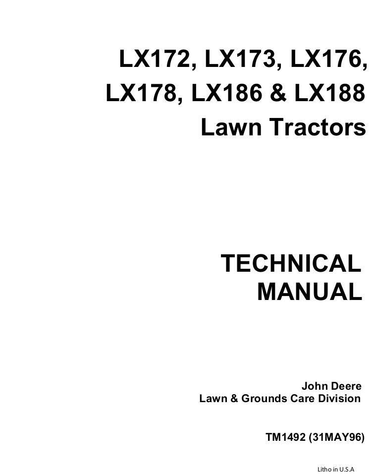 JOHN DEERE LX188 LAWN GARDEN TRACTOR Service Repair Manual