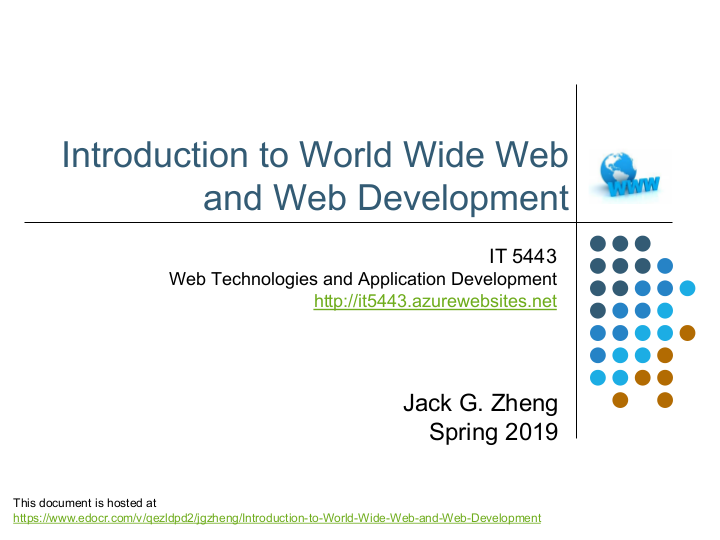 Introduction to World Wide Web and Web Development | edocr