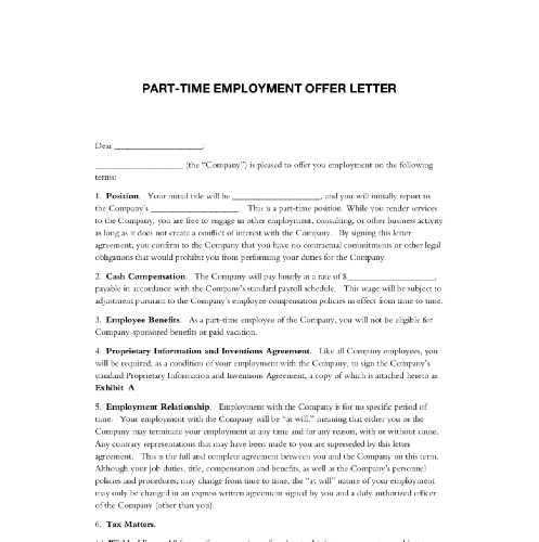 Part-time Employment Offer Letter