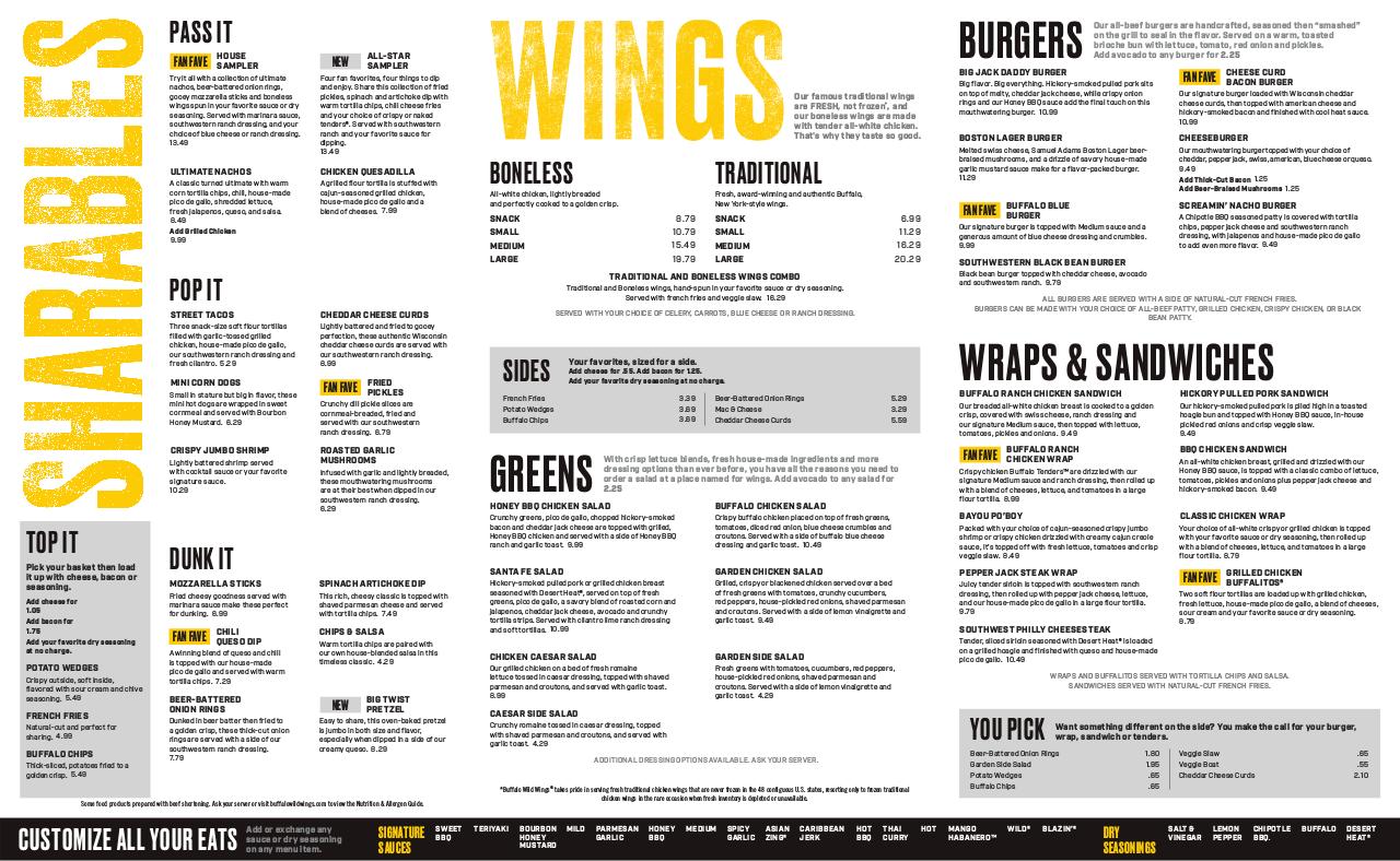 graphic about Buffalo Wild Wings Printable Menu referred to as Buffalo Wild Wings Menu edocr