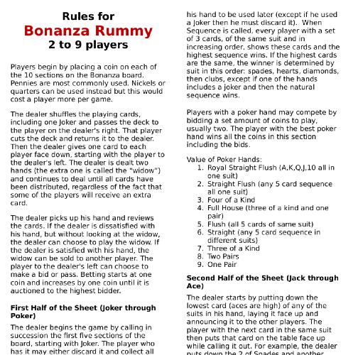 Bonanza Game Rules