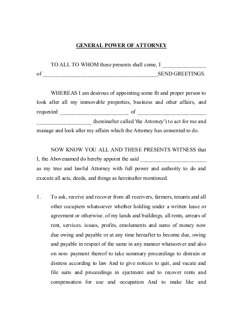 Sample Genereal Power of Attorney for Buying Property in