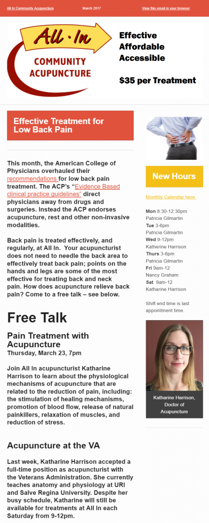 March 2017 Newsletter, All In Community Acupuncture in South County, Rhode Island