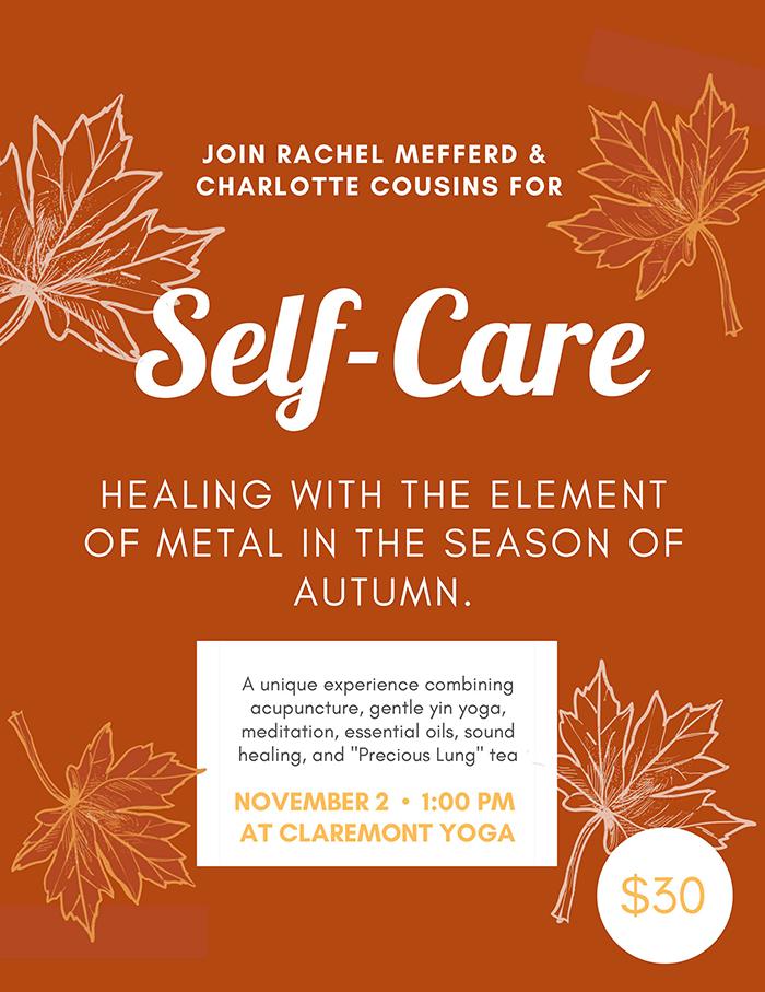 Brochure Image Self-Care Workshop November 2 @ 1:00 PM At Claremont Yoga