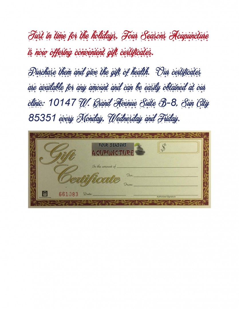 Gift Certificates now available !, Four Seasons Acupuncture in Sun City, AZ