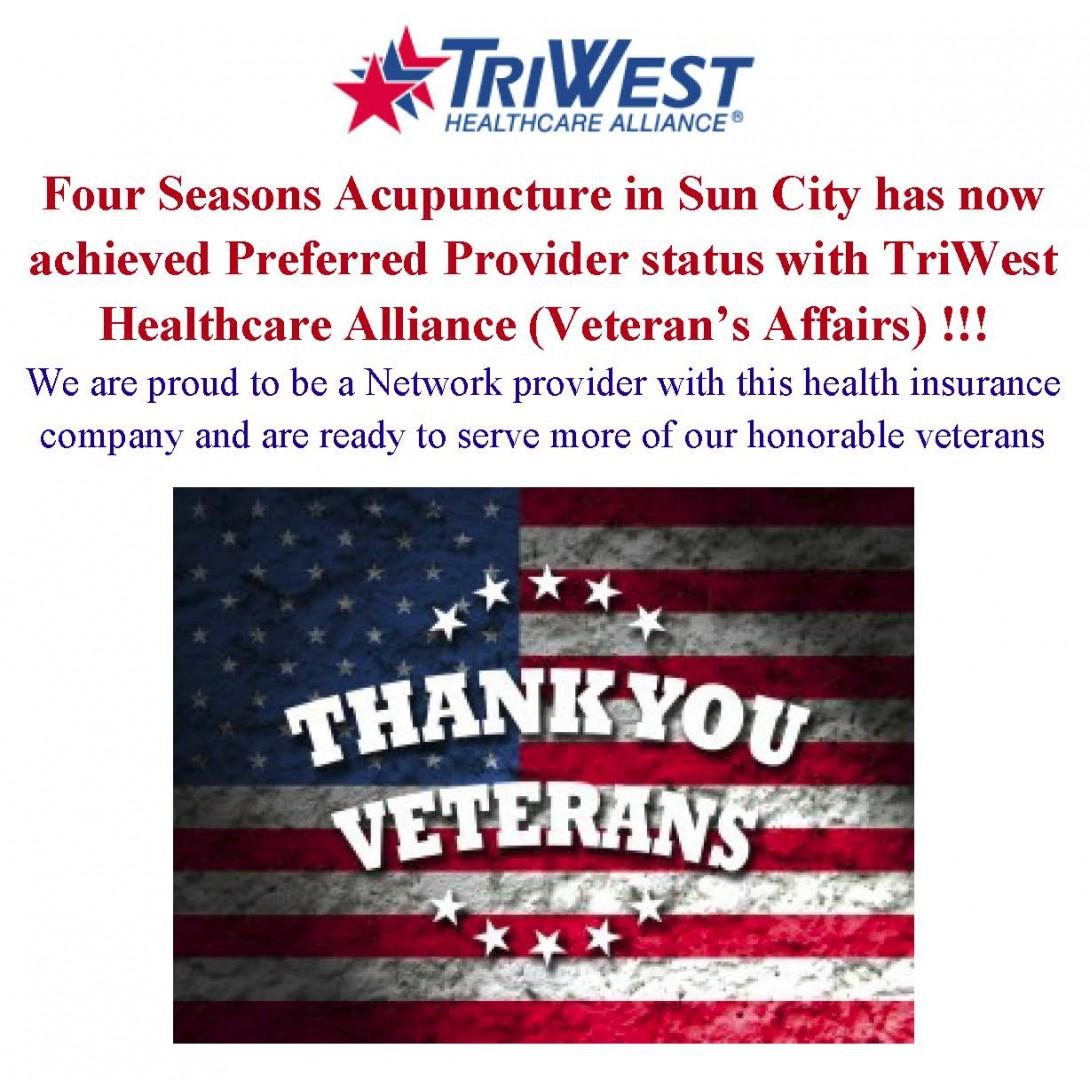 VETERAN'S HEALTH INSURANCE, Four Seasons Acupuncture in Sun City, AZ