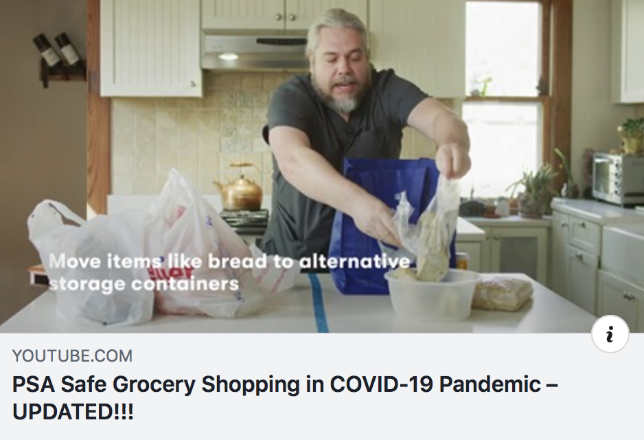 Man cleaning his groceries during Covid