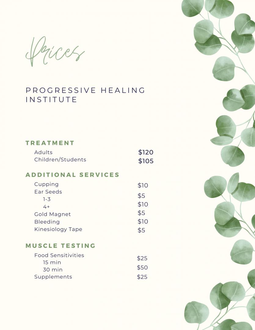 Prices 2020 - Progressive Healing Institute in Nanaimo, BC