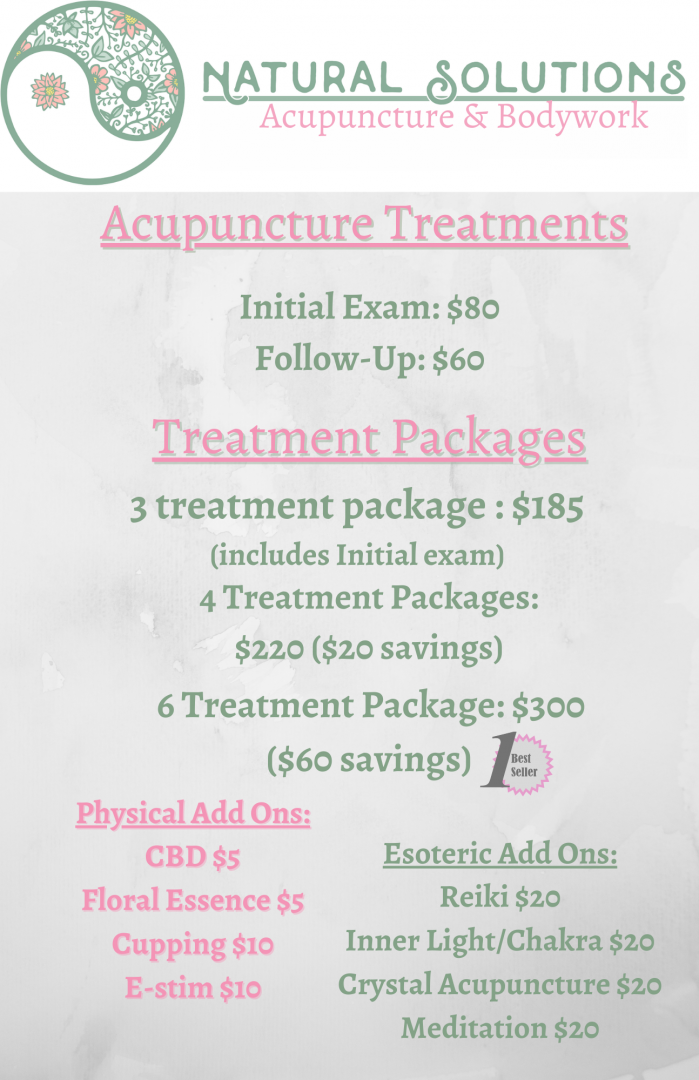 Services - Natural Solutions Acupuncture & Bodywork in Waterloo, NY