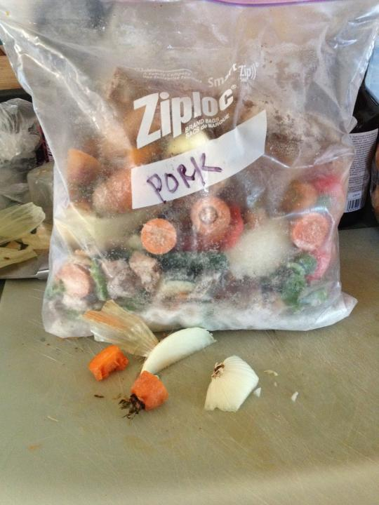 bones and veggies in a ziplock in the freezer for broth