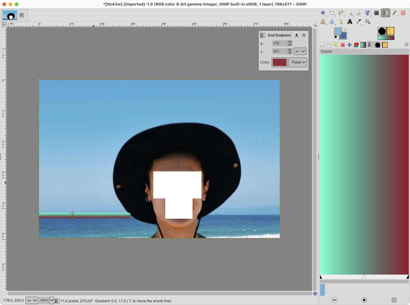 Screen shot of GIMP window with a gradient applied