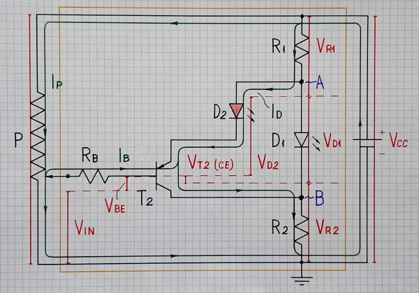 3-LED voltage indicator (at negative input voltage)