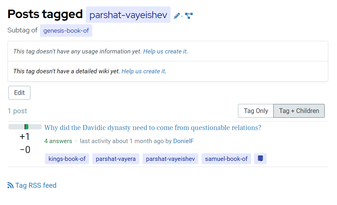 Tag page for the parshat-vayeishev tag, showing 1 question