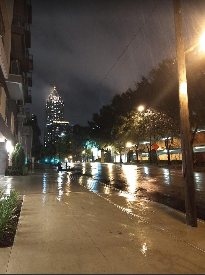 a rainy city street