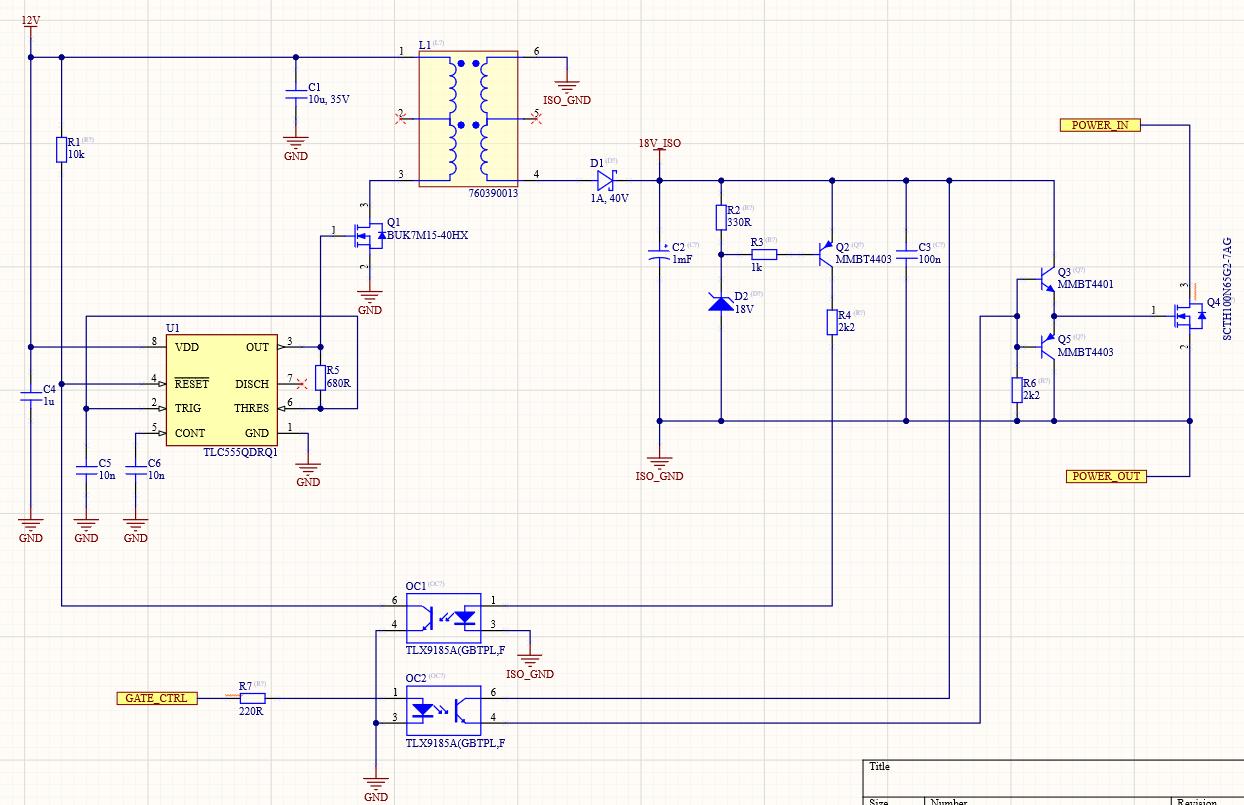 Schematic snapshot of the Flyback Converter Circuit