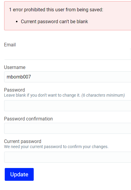 Account page password required validation error
