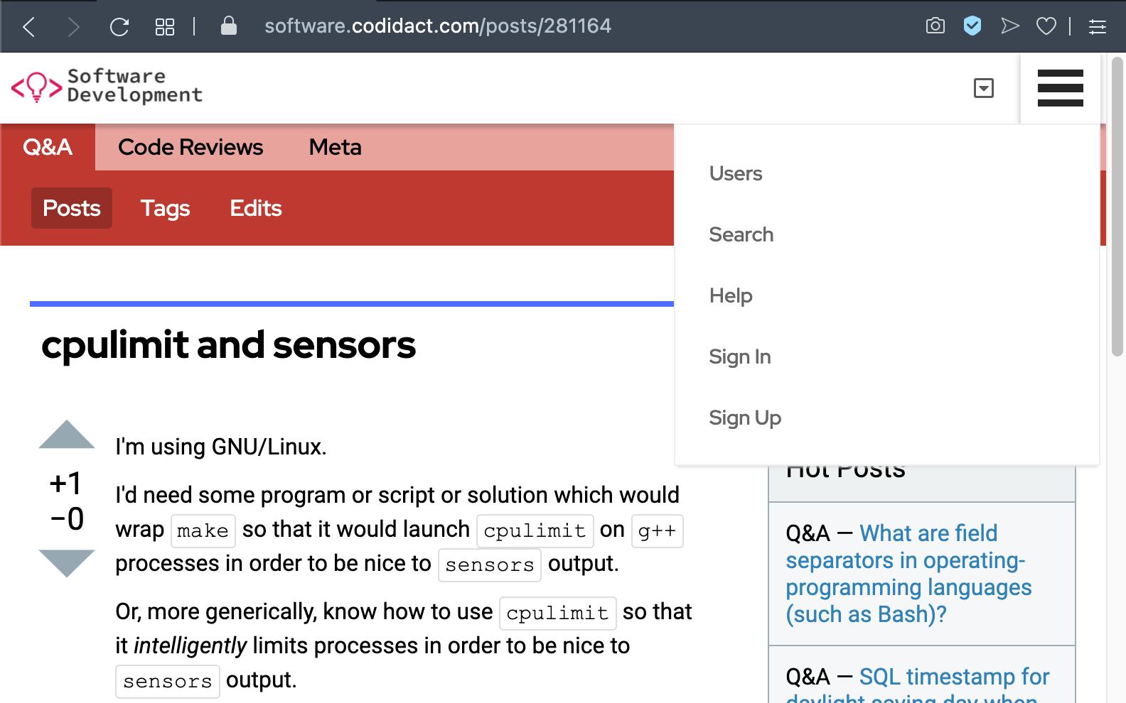 Codidact menu is clicked
