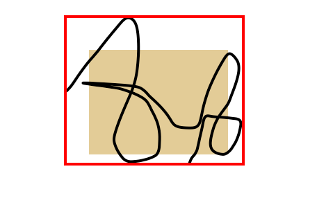 Black Squiggle, Red outline rectangle and brown solid rectangle