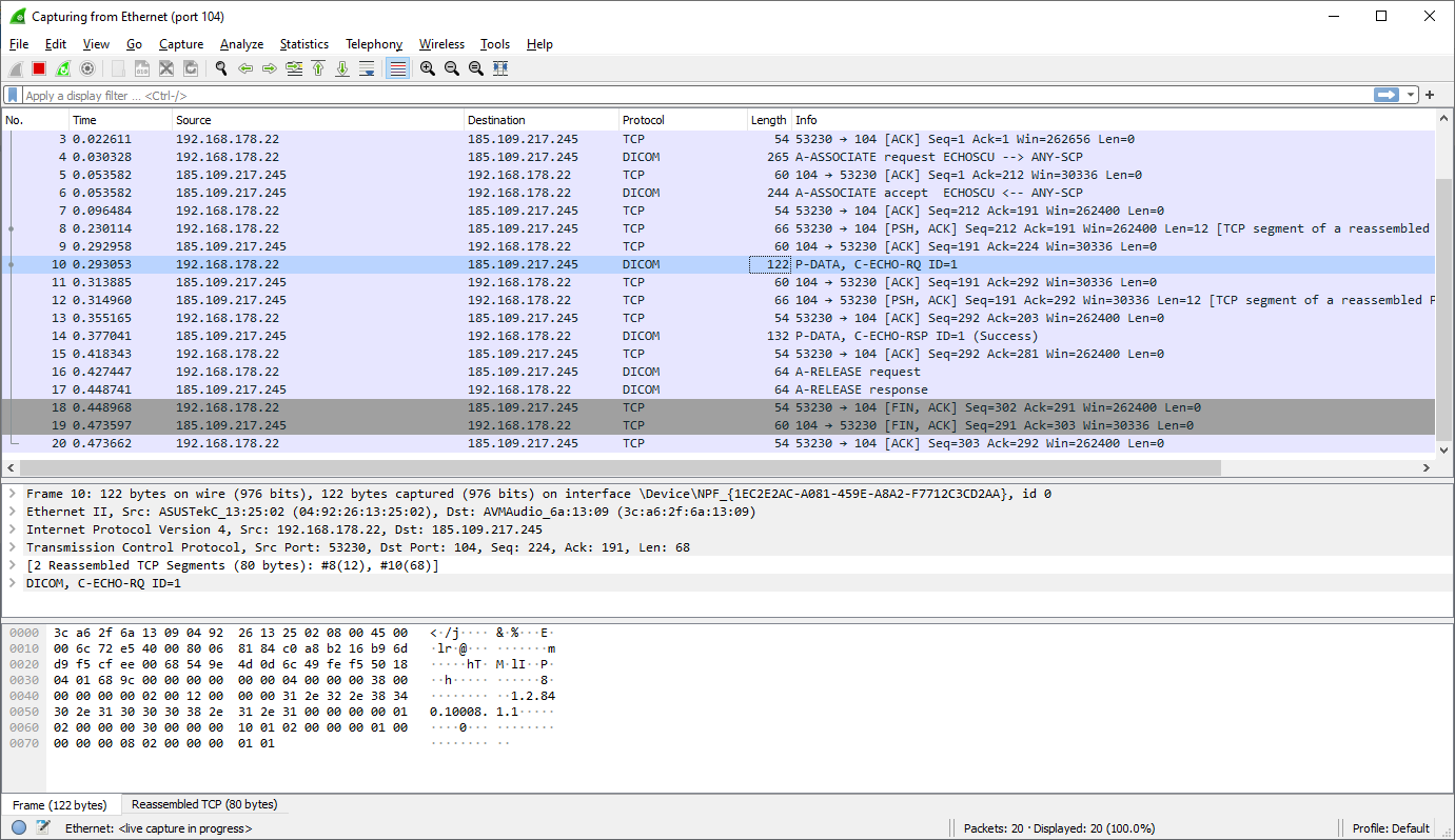 WireShark capture of traffic from DCMTK echoscu to VPS