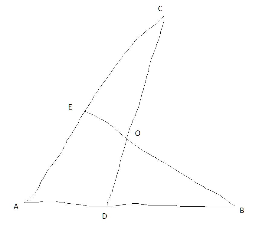 line segments ADB, AEC, COE, and BOE;