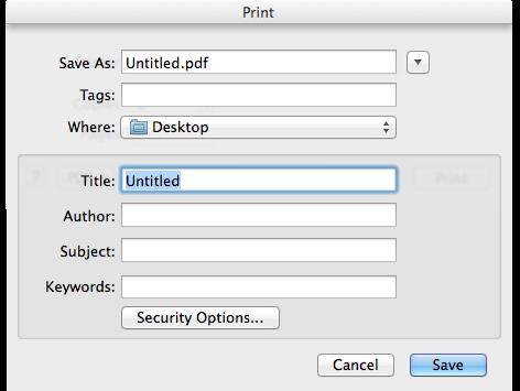 screenshot of print->Save as PDF dialogue
