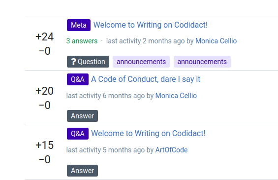 "Screenshot of search results, showing a question labeled ""Meta"" and answers marked ""Q&A"". The answer is to a question titled ""A Code of Conduct, dare I say it"""