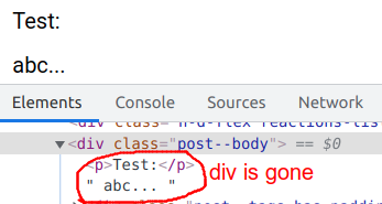 div is removed from the saved post