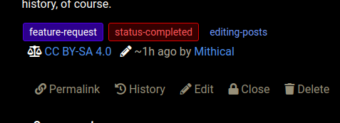 Screenshot of an example, showing an edit made about an hour ago by Mithical