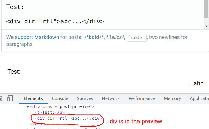 div is rendered in the preview