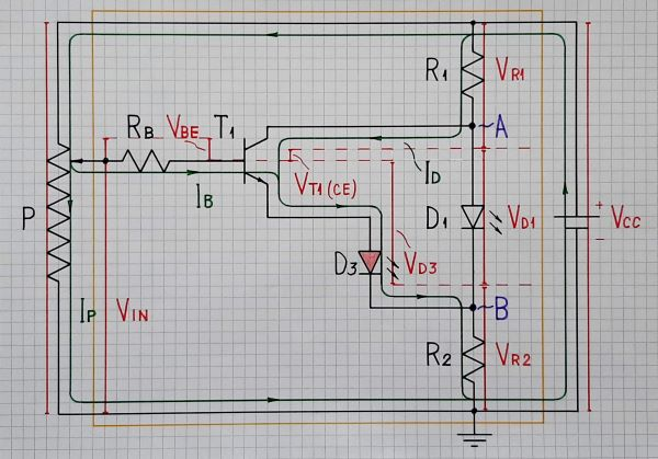 3-LED voltage indicator (at positive input voltage)