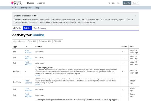 Screenshot of the Activity tab