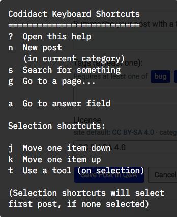 Kbd shortcuts Popup