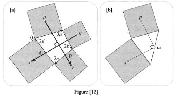 Figure[12a] shows an arbitrary quadrilateral with squares constructed outward on each of the sides and line segments joining the centres of the opposite squares. Figure [12b] shows an arbitrary triangle with squares constructed outward on two sides and line segments joining the centres of the squares to the midpoint of the remaining side of the triangle. The centres of the squares are labelled $p$ and $m$, and the midpoint of the side is labelled $m$.