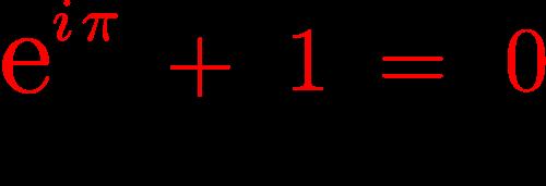 e to the i pi formula above and blackboard bold Mathematics below