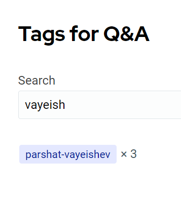 Tag search showing the parshat-vayeishev tag containing 3 questions