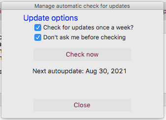 Check for updates, don't ask first (2 checkboxes)