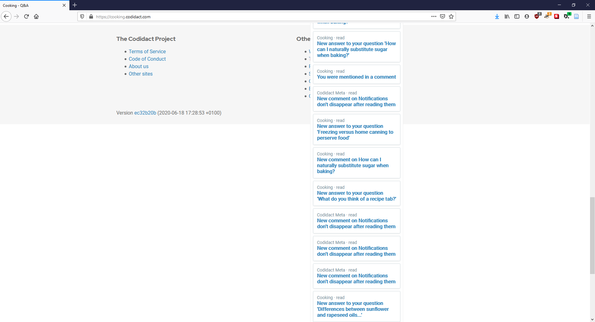 image of comment drop down list overextending the site