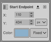Screen shot of GIMP dialogue for the gradient endpoints
