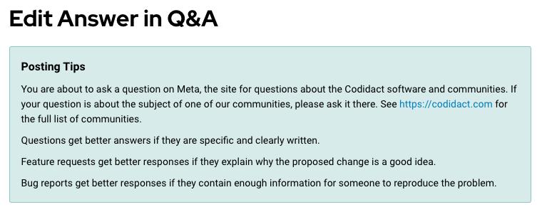 "Screenshot of ""Posting Tips"" banner when suggesting an edit on Meta Codidact."