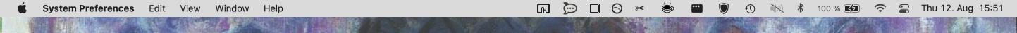 Screen shot of non-transparent menu bar