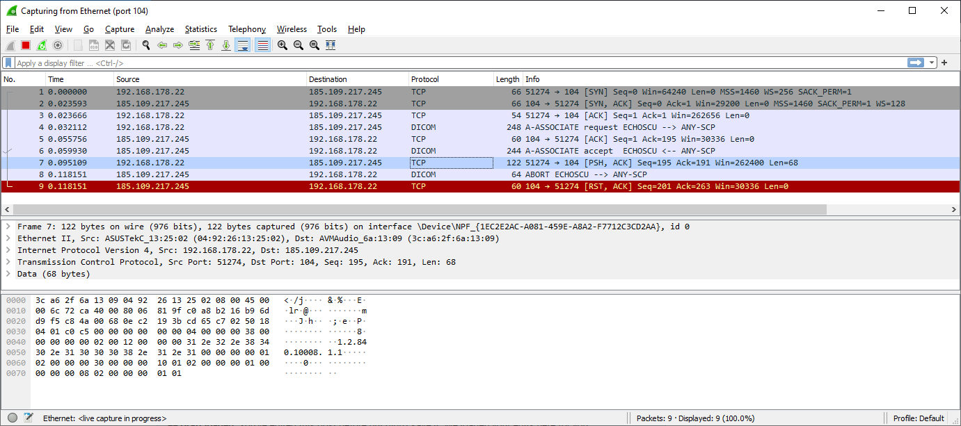 WireShark capture of traffic from Android emulator to VPS
