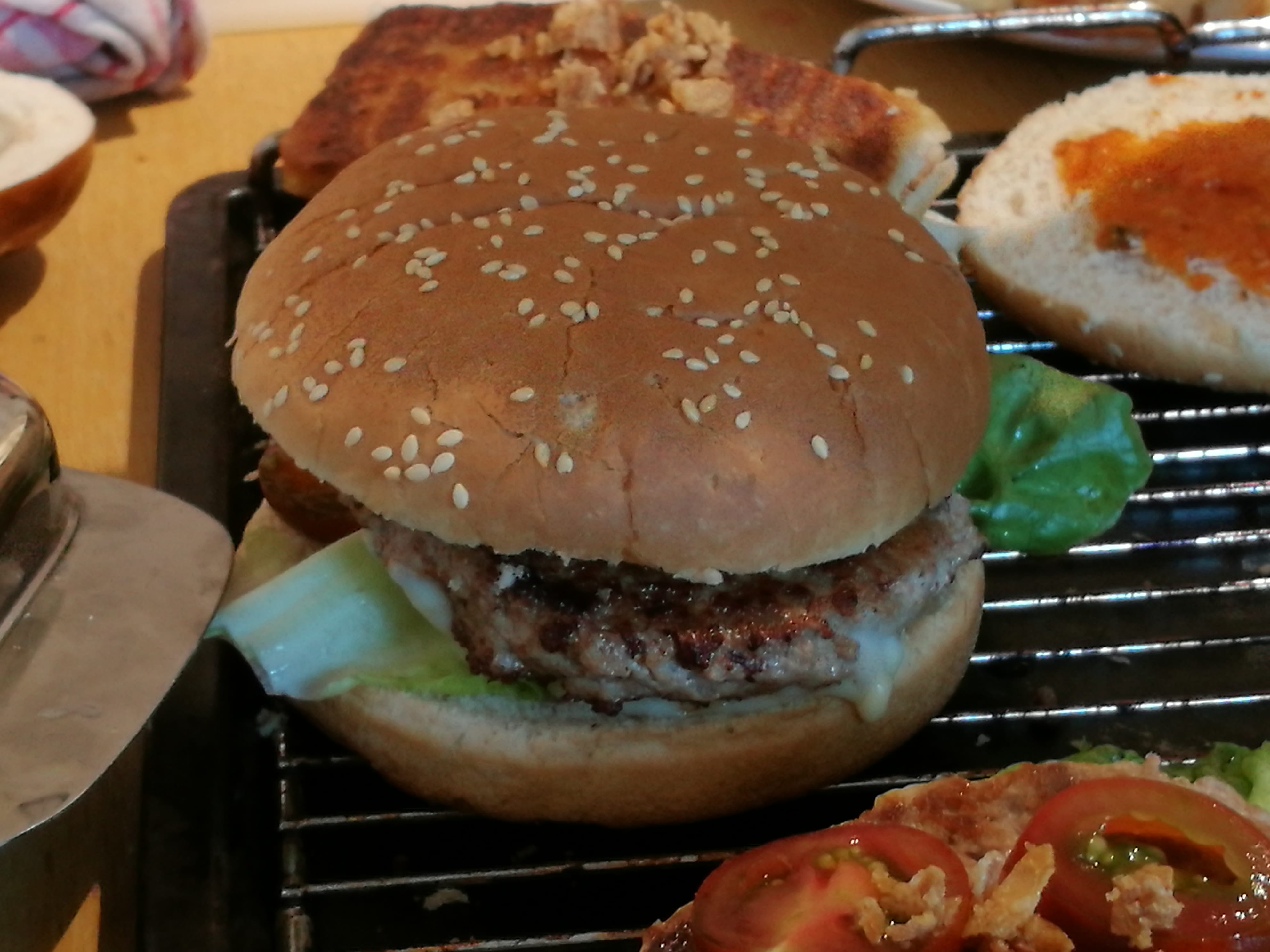 burger with patty side view