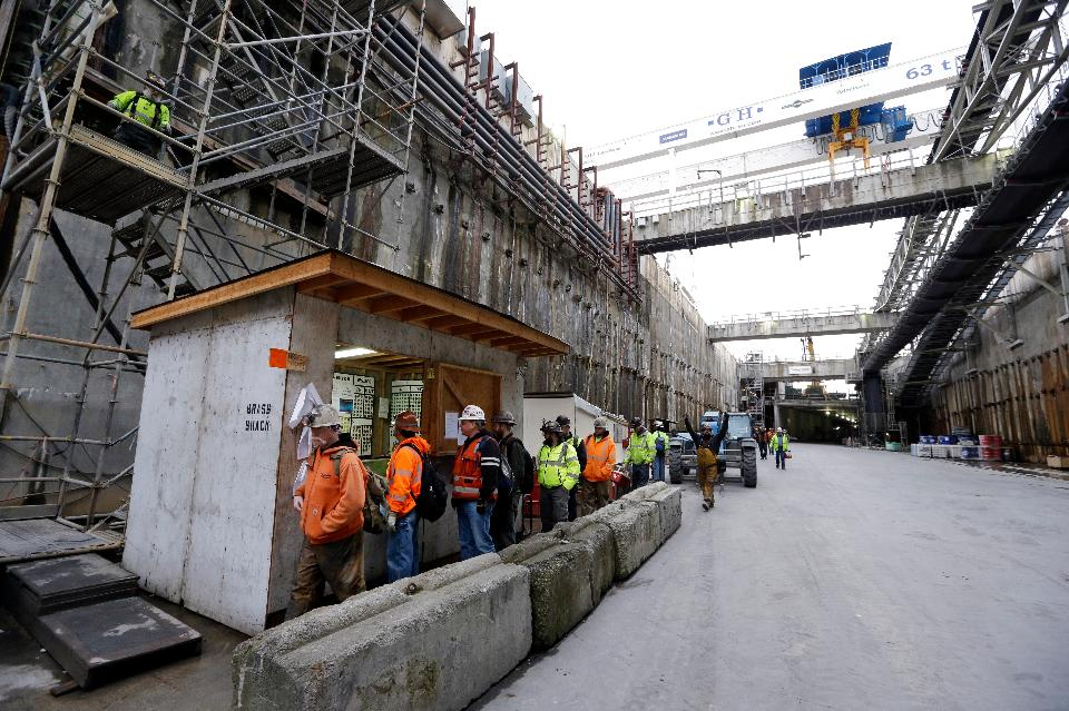 Tuesday, Dec. 13, 2016, Seattle: A massive tunneling machine is boring what will be a two-mile, double-decker traffic tunnel to replace the Alaskan Way viaduct, damaged in an earthquake in 2001. The tunnel is now more than a mile long and is more than 70% complete.