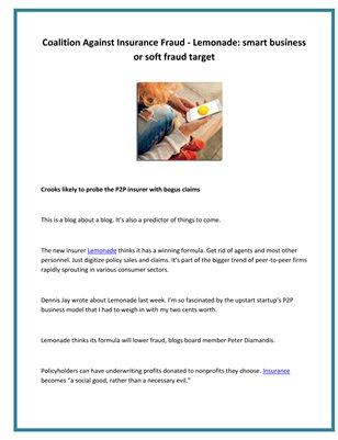 Coalition Against Insurance Fraud - Lemonade: smart business or soft fraud target