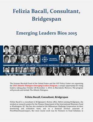 Emerging Leaders Bios 2015 - Felizia Bacall, Consultant, Bridgespan