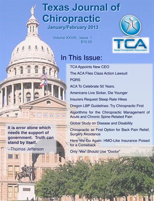 Texas Journal of Chiropractic Jan/Feb 2013